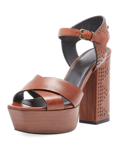 Farrah Studded Leather Platform Sandal