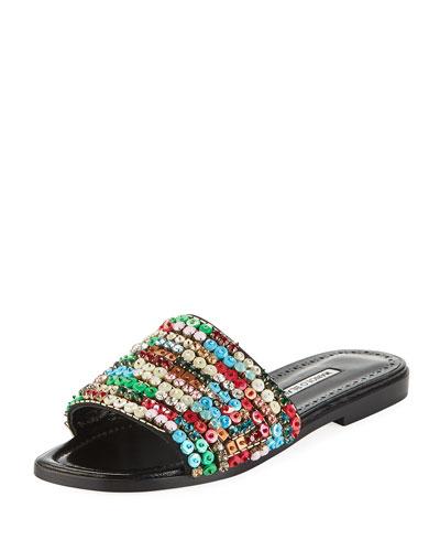 Gioiosa Embellished Flat Slide Sandals