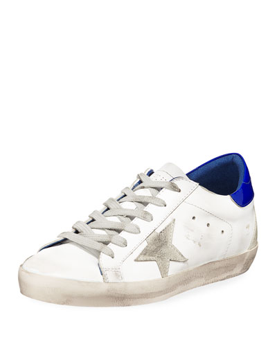Superstar Leather Low-Top Platform Sneakers, White/Blue