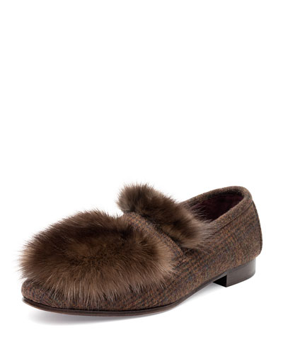 Cashmere and Fur Flat Loafers
