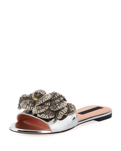 Shiny Leather Flat Slide Sandal with Crystal Flower