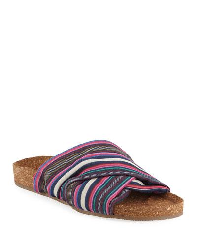 Suki Flat Striped Silk Cork Slide Sandal