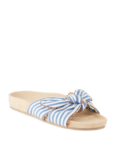 Beattie Knotted Striped Pool Slide Sandal