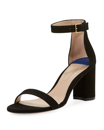 75LESSNUDIST Suede Block-Heel City Sandals
