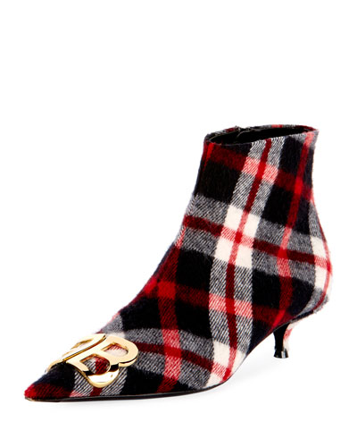 BB Logo Plaid-Flannel Booties