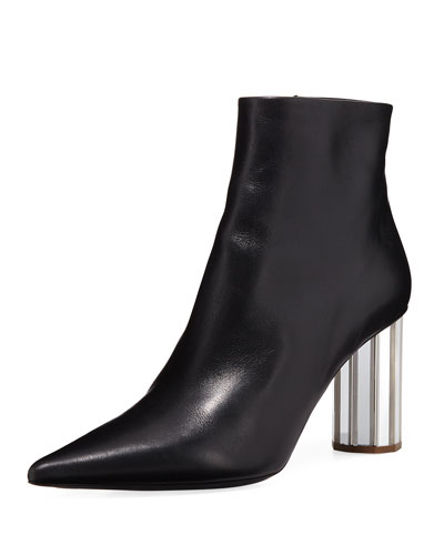 Calfskin Booties with Mirror Block Heel