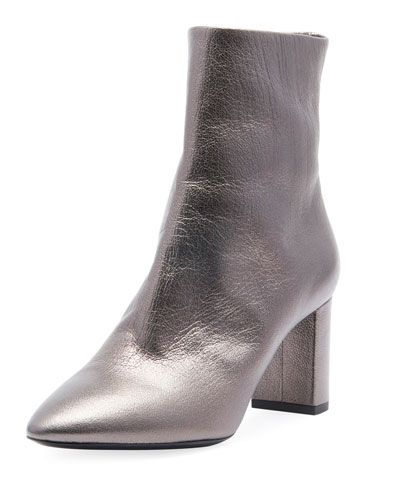 LouLou Zip Booties, Gray Metallic