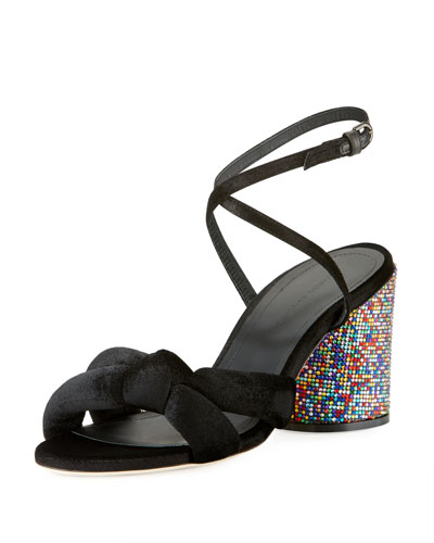 Knotted Speckled Block-Heel Sandals