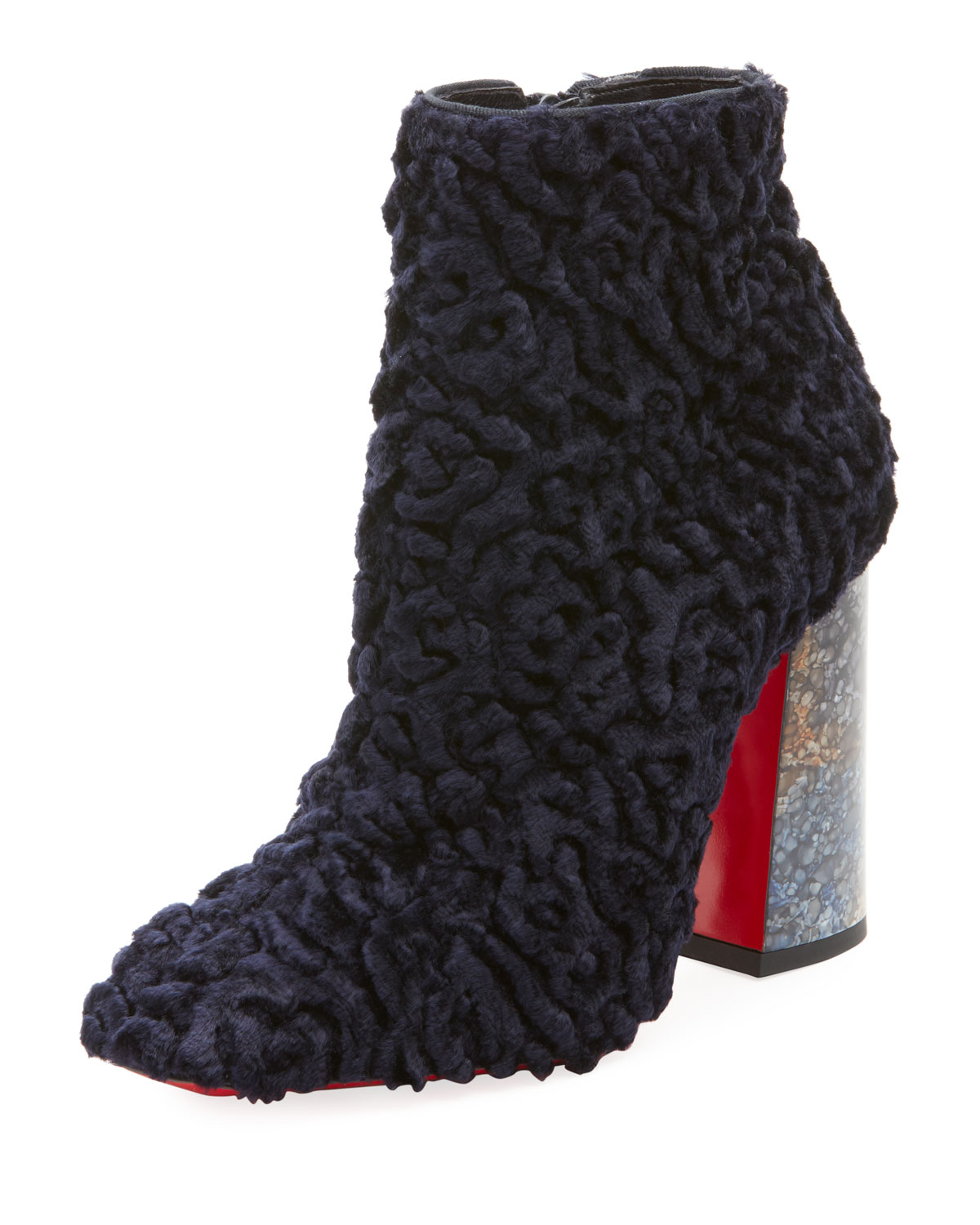 CHRISTIAN LOUBOUTIN HILCONINICO POODLE FABRIC ZIP BOOTIE