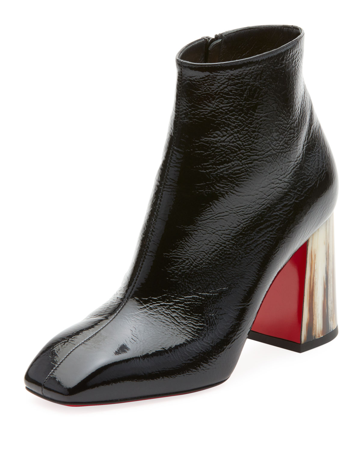 CHRISTIAN LOUBOUTIN HILCONICO VINTAGE SHINY RED SOLE BOOTIE