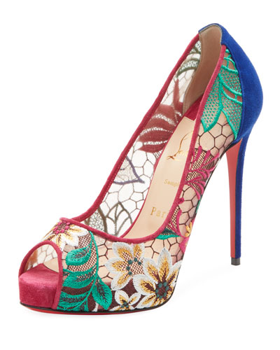 Very Lace Platform Red Sole Pump