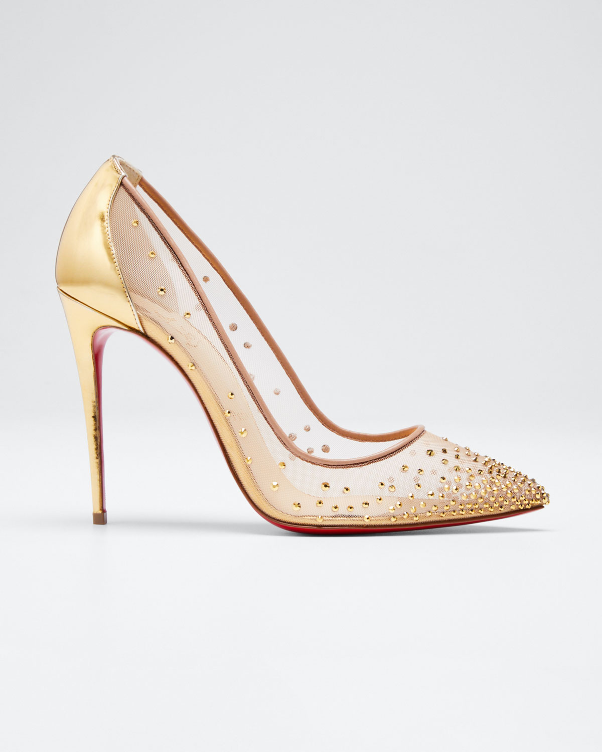 CHRISTIAN LOUBOUTIN FOLLIES STRASS CRYSTAL MESH RED SOLE PUMP