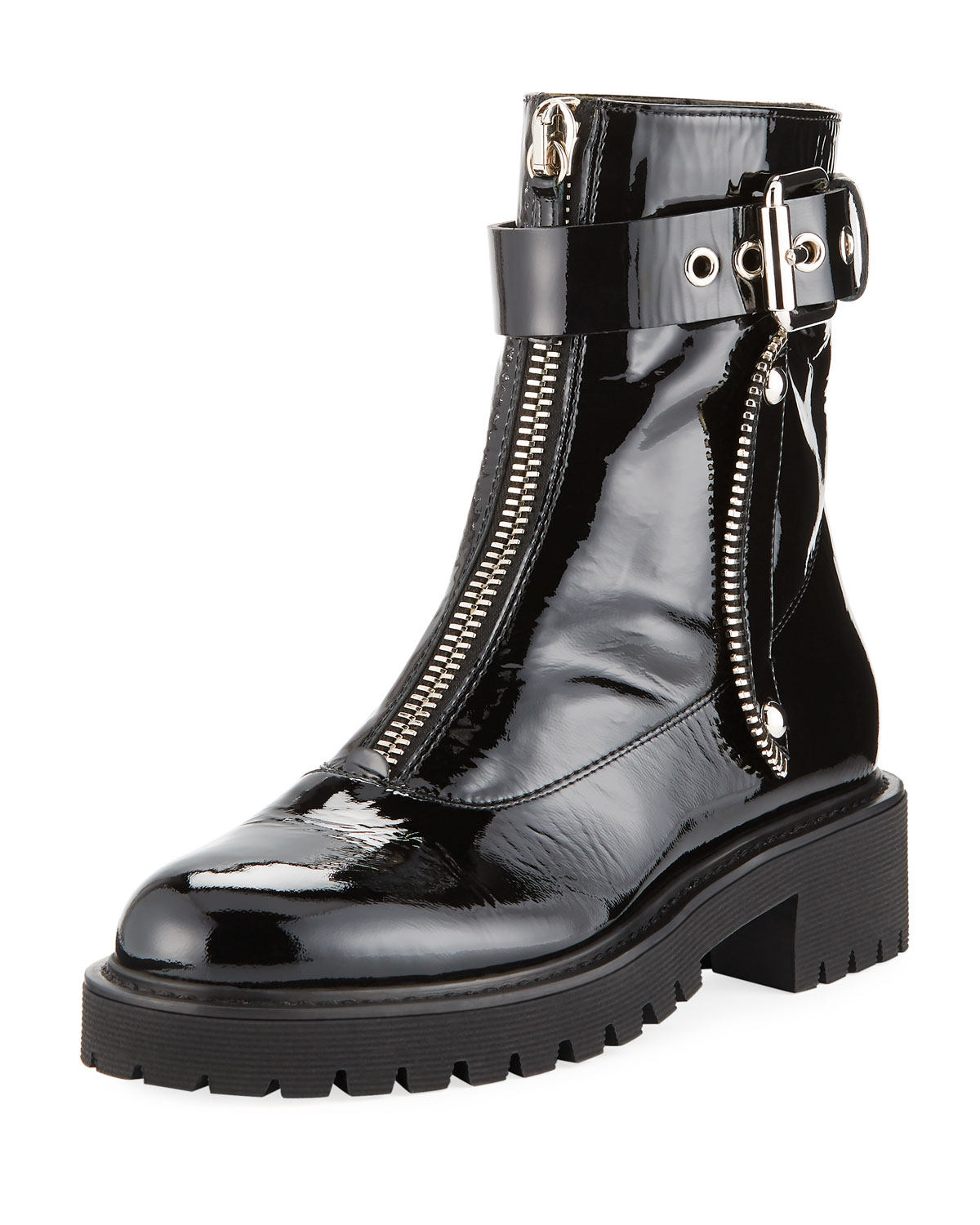 Patent Leather Front-Zip Combat Boots