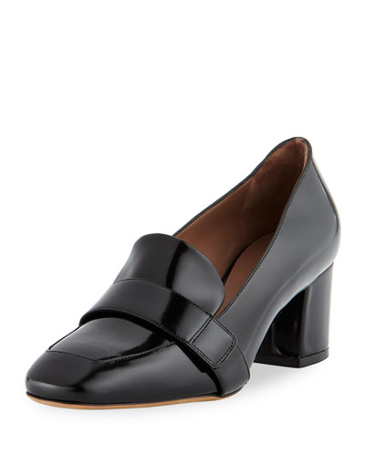 Mika Block-Heel Leather Loafer Pumps, Black