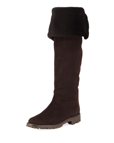 Fold-Down Fur Tall Boots