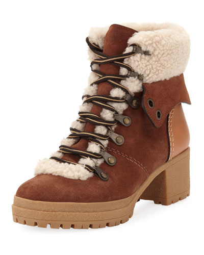 Fur-Lined Lace-Up Booties