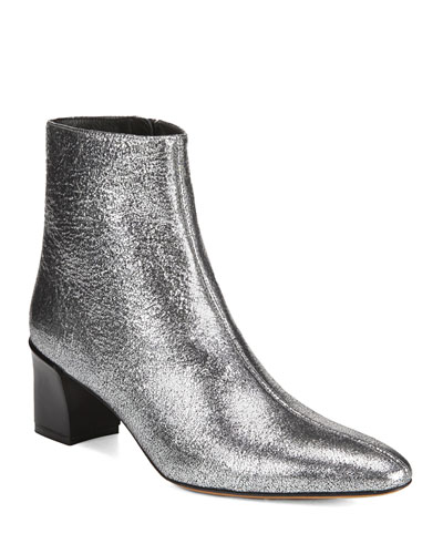 Lanica 55mm Metallic Leather Booties