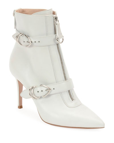 Napa Buckled Zip-Front Ankle Booties, White