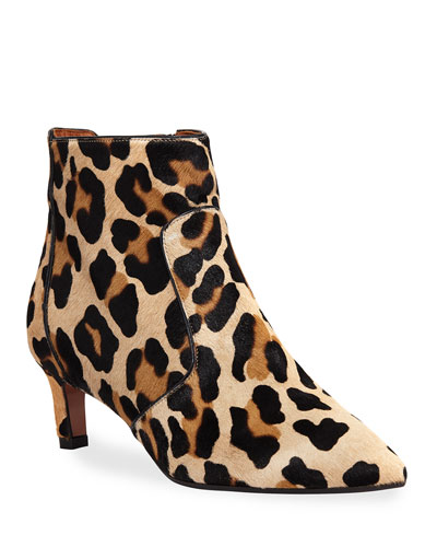 Marilisa Leopard-Print Calf Hair Booties