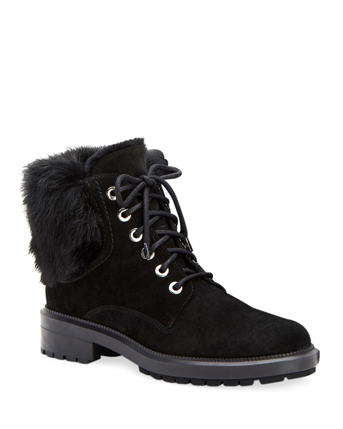 Lacy Genuine Shearling Lined Boot With Genuine Rabbit Fur Trim in Black