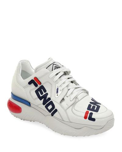d9cee7f1edfd Fendi Mania Leather Sneakers