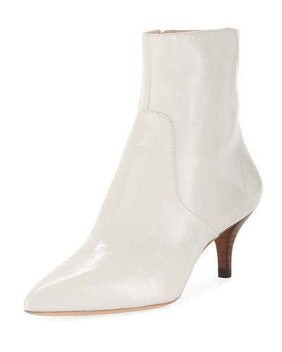 Kassidy Stretch Leather Kitten-Heel Booties