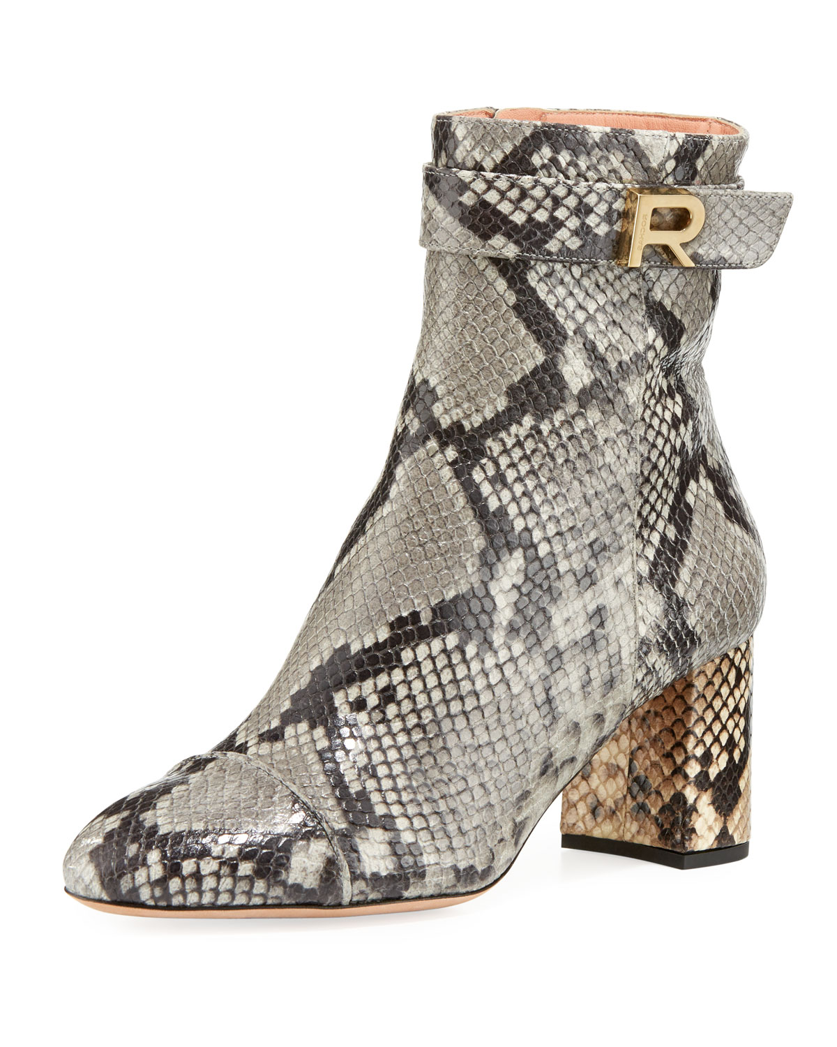 Snake-Print Ankle Bootie