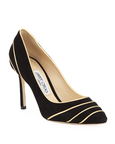 6d4c115bdc70 Romy Suede Pumps with Metallic Piping