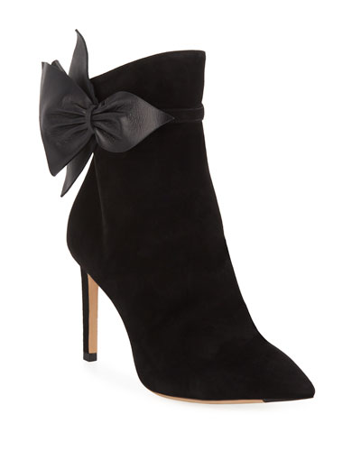 Kassidy Suede Booties with Leather Bow