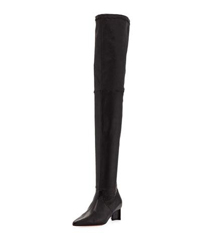 b83a6567b1f2e Saphiaa Over-The-Knee Leather Boots