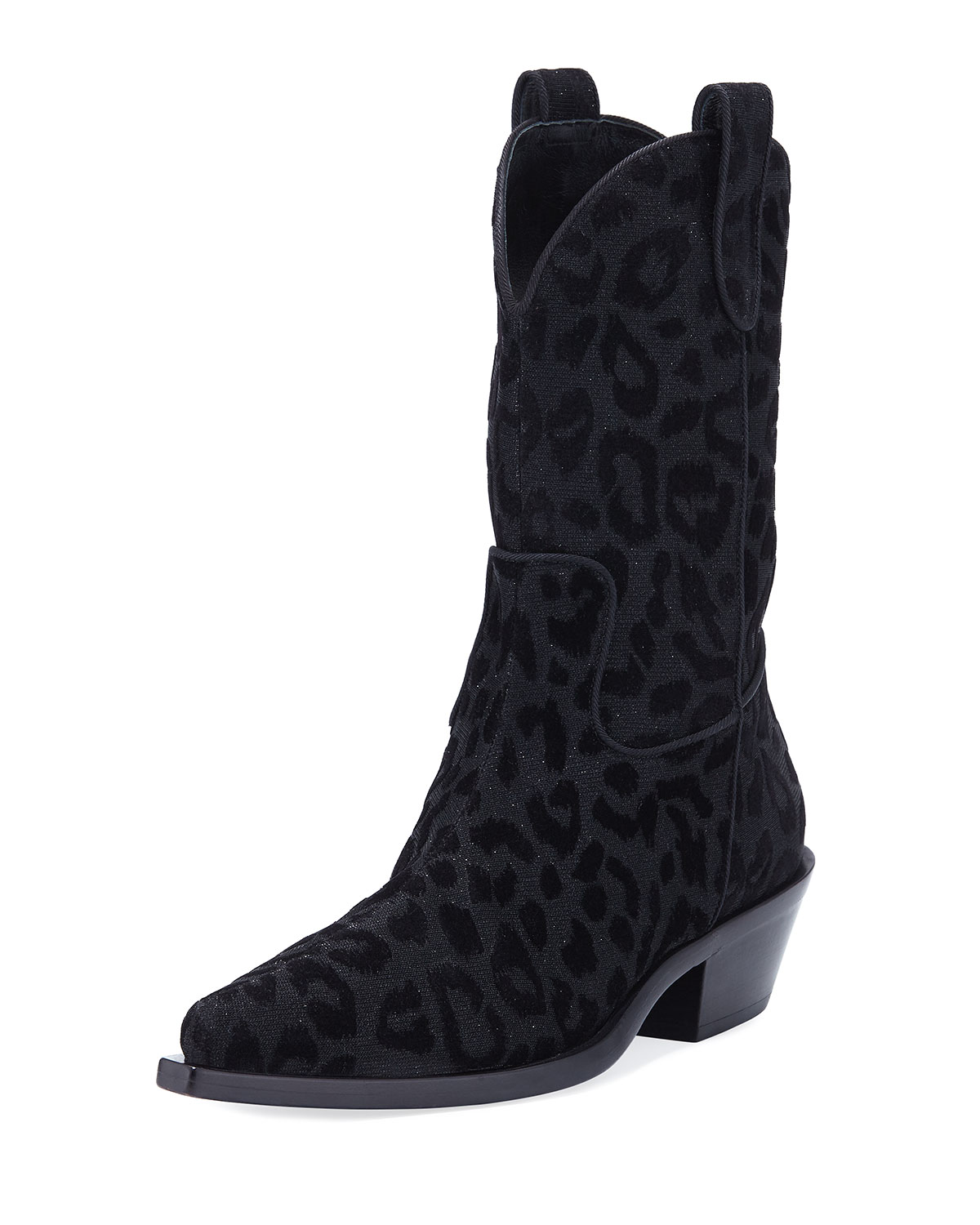 Leopard-Flocked Western Tall Boots