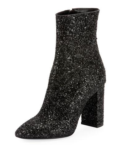 Lou Glitter Zip Booties
