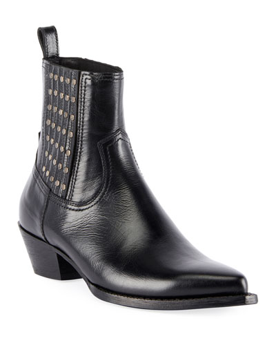 Lukas Studded Leather Booties