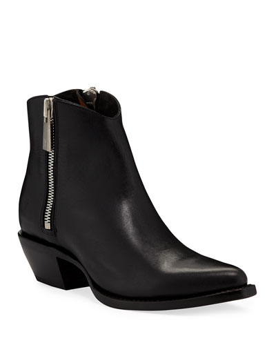 Sacha Leather Zip Shortie Boots