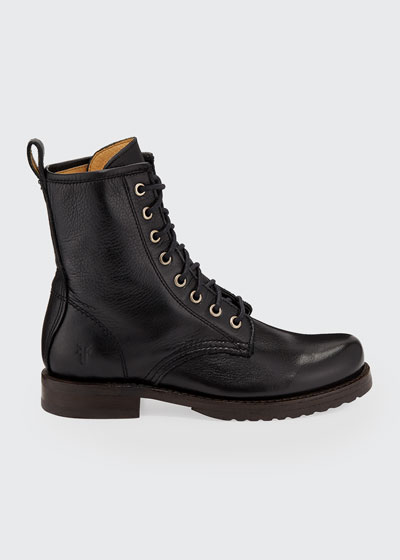 Veronica Leather Combat Booties