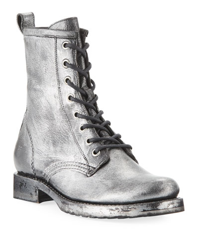 Veronica Metallic Leather Combat Booties