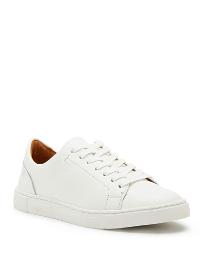 Ivy Tumbled Leather Lace-Up Low-Top Sneakers