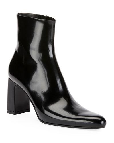 cf09205379e Leather Block-Heel Booties
