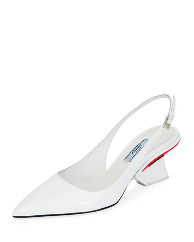 Patent Slingback Pumps with Angled Heel