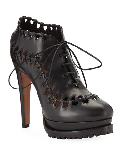 Cutout Platform Leather Booties