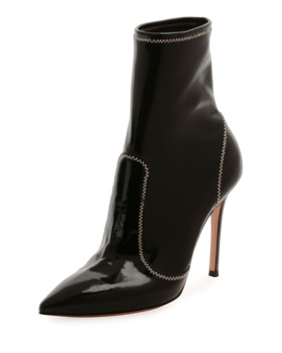 Pointed-Toe Booties w/ Topstitching