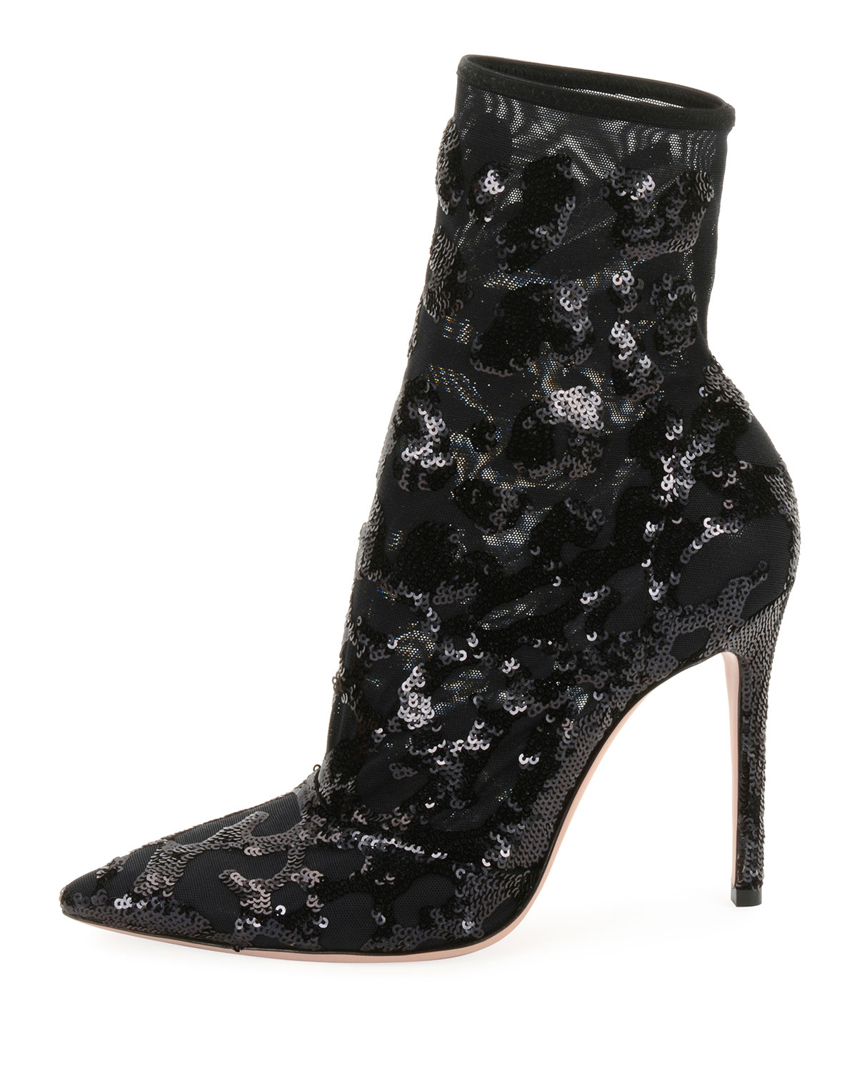 Leopard Sequined Mesh Ankle Boot
