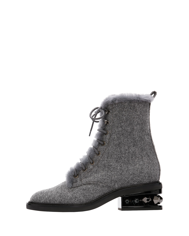 Suzi Wool Combat Boots