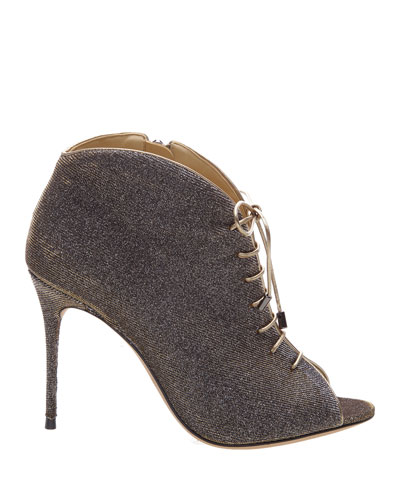 Coco Glitter Lace-Up Booties