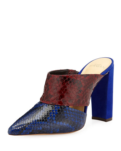 Two-Tone Python Snake/Suede Block-Heel Mules