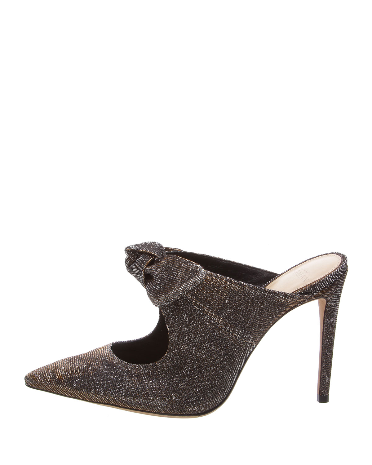 ALEXANDRE BIRMAN KNOTTED HIGH POINTED 100MM MULES, SILVER