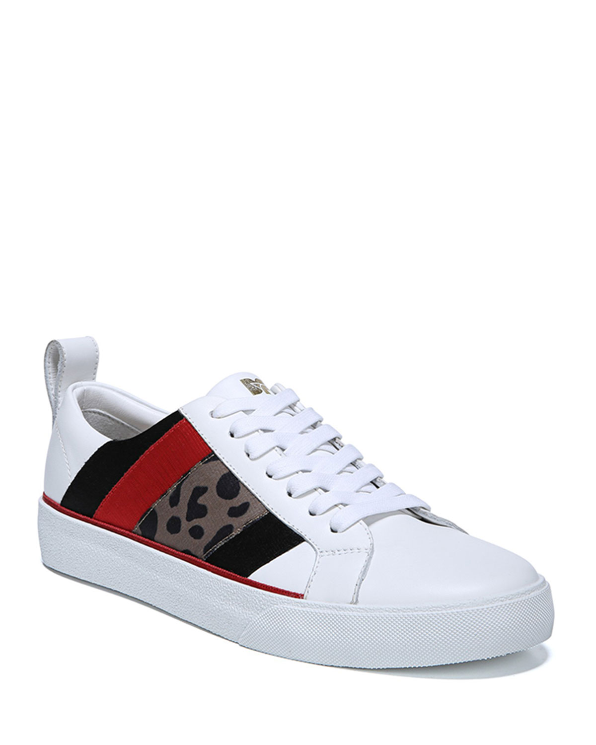 Tess Leather Sneakers With Mixed Panels in White