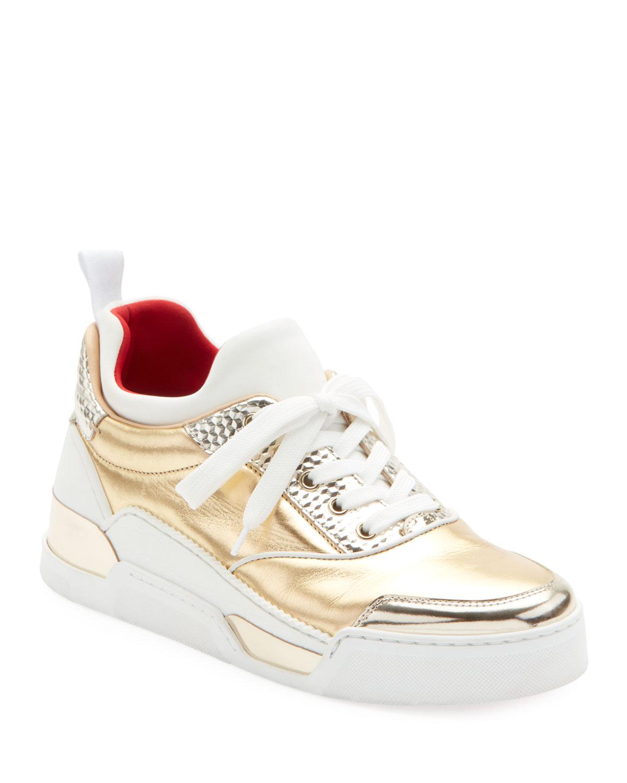 Aurelien Women'S Multimedia Metallic Low-Top Sneakers, White/Gold