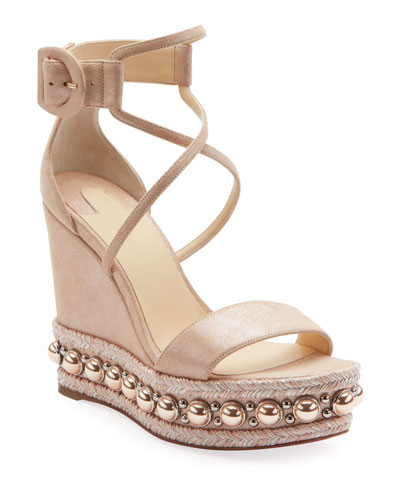 d8c3543c6cd1 Chocazeppa Metallic Suede Wedge Red Sole Espadrille Sandals