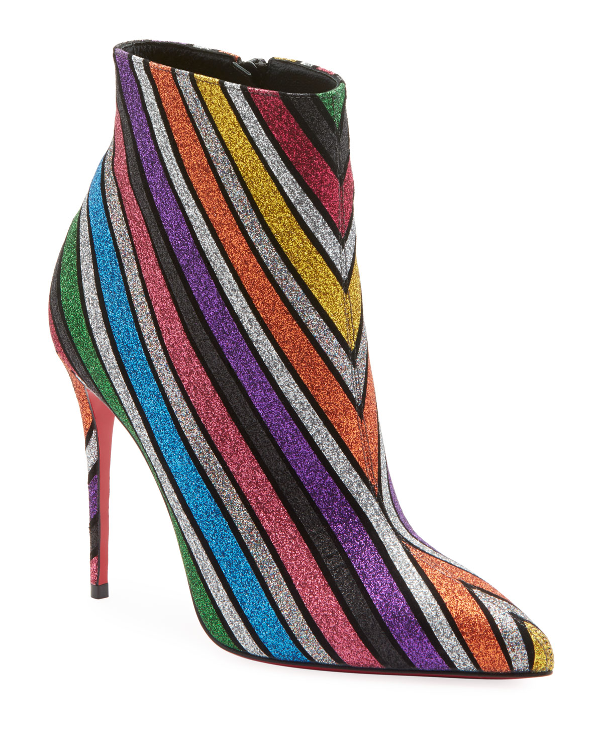 So Kate 100 Stripey Glitter Suede Red Sole Booties in Rainbow Stripe